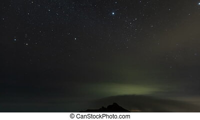 night starsky Timelapse sunset at the top of Agung volcano in clouds Balii Indonesia. over the clouds. fast speed moving. hyperlapse 4k video. rocks and mountains. gunung. milkyway
