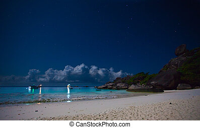 Night at the tropical island - Night on a tropical island. ...