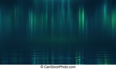 Night aurora borealis over the water against the background of the starry sky