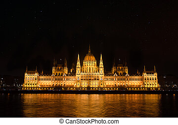 night., bâtiment, parlement, budapest