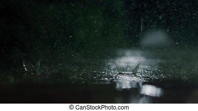 night., b-roll, establishing, pluie, tomber, coup, dur