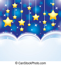 night background with sky and yellow stars