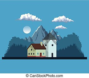 night background landscape of mountains and house with windmill