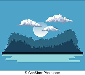 night background landscape of mountains and lake and moon