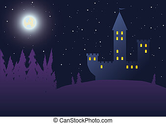 Night background with castle