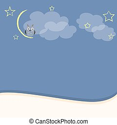 Night background with owl moon and stars
