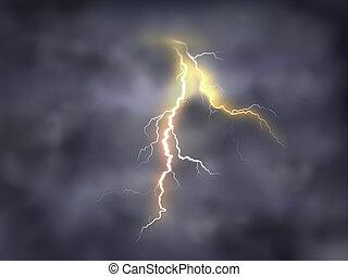 night background with thunderbolt