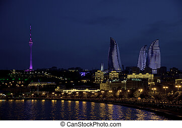 NIght Baku.Types of boulevards on the shore of the Caspian Sea.