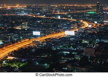 Night Bangkok bird's-eye view. Night street skyline
