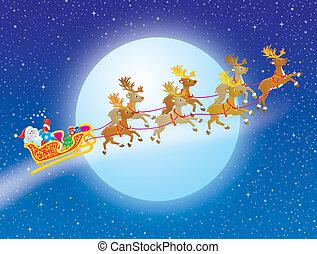 Santa Claus flying in his sledge pulling by reindeers in the Christmas night sky