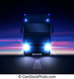 Night big semi truck with bright headlights and dry van semi riding in the dark on the night road on colorful starry sky background front view, vector illustration