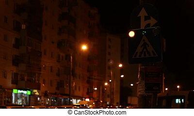 Night Blinking Crosswalk Sign