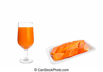 Orange juice in a clear glass and ripe papaya fruit on a white tray are perfect as an appetizer.