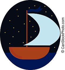 Night boat, vector or color illustration.