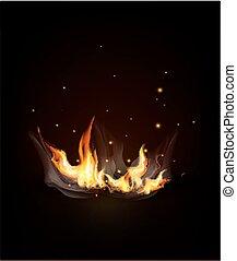 (night), brennender, feuer, dunkel, hintergrund., vektor