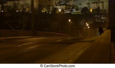 Night Bridge in Prague City