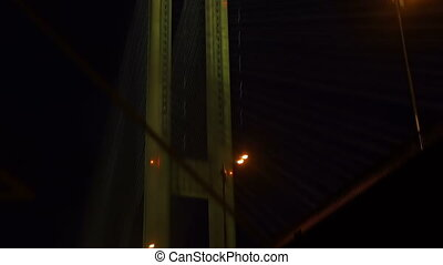 Night bridge view, smooth camera movement, vertigo