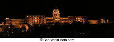 Royal palace - Night. Budapest Royal palace. Hungary.
