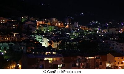 Night Budva, Montenegro. The new town, the view from the highest