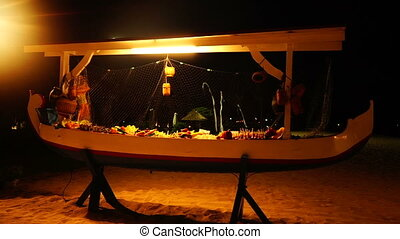 Night buffet table on the beach - Night buffet table setting...