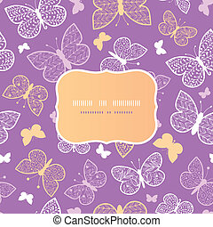 Night butterflies frame seamless pattern background template
