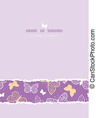 Night butterflies torn frame horizontal seamless pattern background template