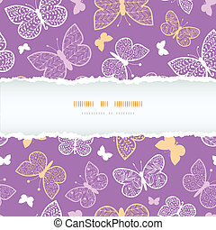 Night butterflies torn frame seamless pattern background template