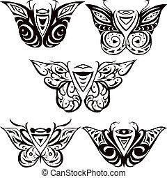 night butterfly, hawkmoth - night hawkmoth butterfies , set...