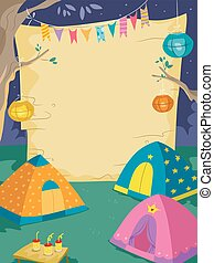 Night Camp Blank Board - Illustration of a Camp Site with a...
