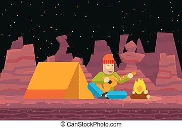 Night Camp Tent Traveler Sings and plays Guitar Campfire Seamless Desert Flat Design Background Template Vector Illustration