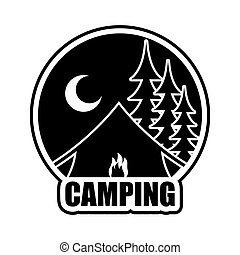 Night Camping logo. Emblem for accommodation camp. Landscape with tent and forest. Moon and Bonfire of booth
