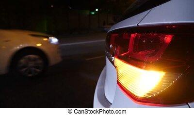 night. car blinker light. emergency car warning light on the...