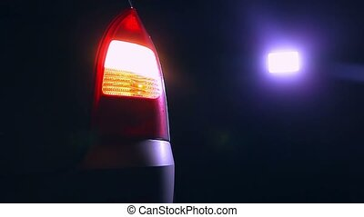 night car  blinker light turn a beautiful city highlight road safety