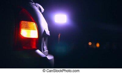 night car blinker light turn beautiful highlight road safety city