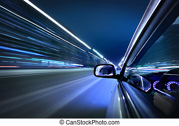 night car drive - car fast drive on highway in night