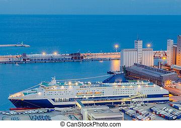 night., cargaison, marin, barcelona., port