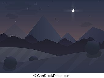 Night cartoon Mountain Landscape Background with trees and moon. Vector illustration.