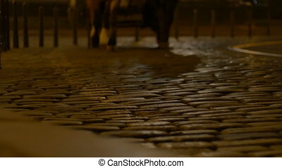 Night Chaise Passing Cobblestone Road - A night coach is...