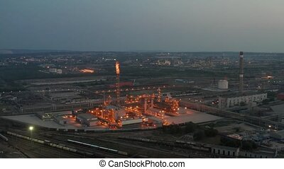 Night chemical factory - Aerial night view of chemical ...