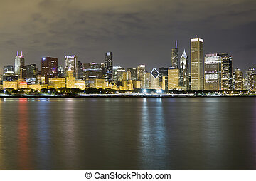(night, chicago), distrito financiero, vista