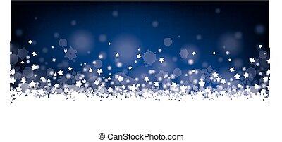 Night Christmas Card Header Snowflakes Stars - Christmas...