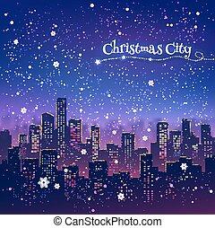 Night Christmas cityscape
