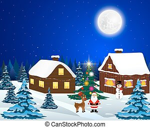 Santa Claus with reindeer and a snowman - Night christmas ...