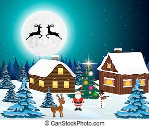 Night christmas forest landscape. Santa Claus with reindeer
