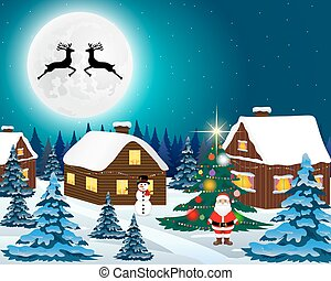 Night christmas forest landscape. Santa Claus with reindeer and