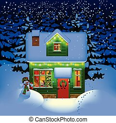 Night Christmas house - Winter night with spruce forest in...