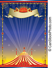 Night circus poster - A circus background with a big top for...