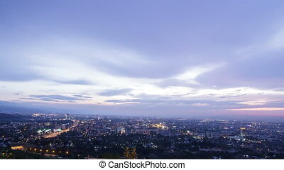 Night city. Almaty, Kazakhstan. TimeLapse