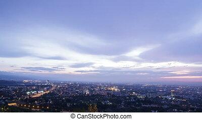 Night city. Almaty, Kazakhstan. Time Lapse