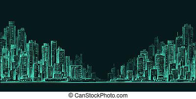 Night city background. Hand drawn